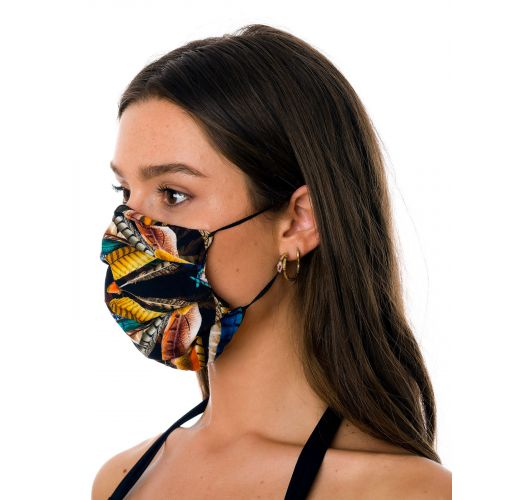 Reusable 3-ply black feather pattern fabric mask - FACE MASK BBS30