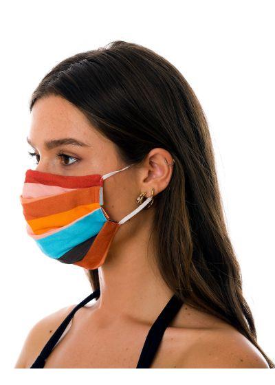 Masque tissu réutilisable 3 plis rayures colorées - FACE MASK BBS32