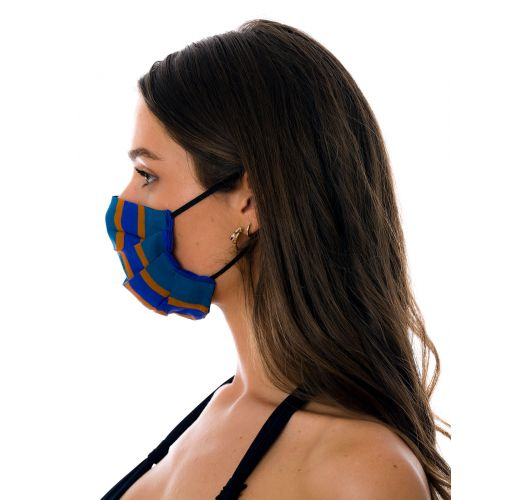 Reusable 3-ply blue striped fabric mask - FACE MASK BBS33