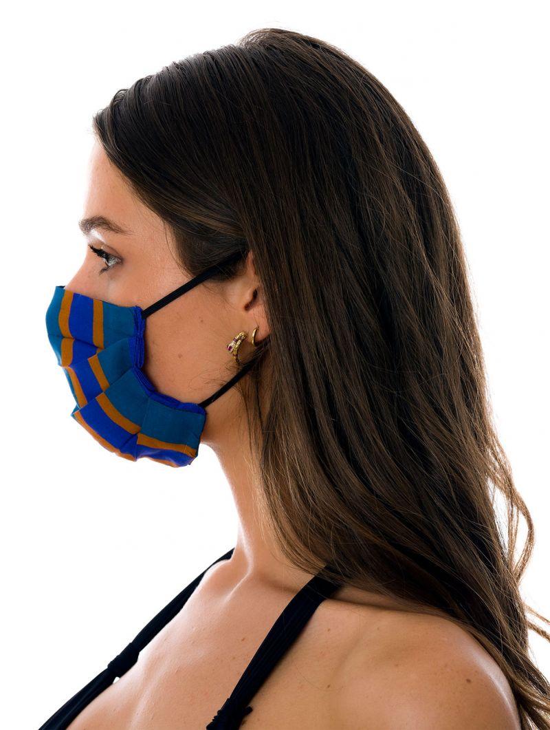 Masque tissu réutilisable 3 plis bleu à rayures - FACE MASK BBS33