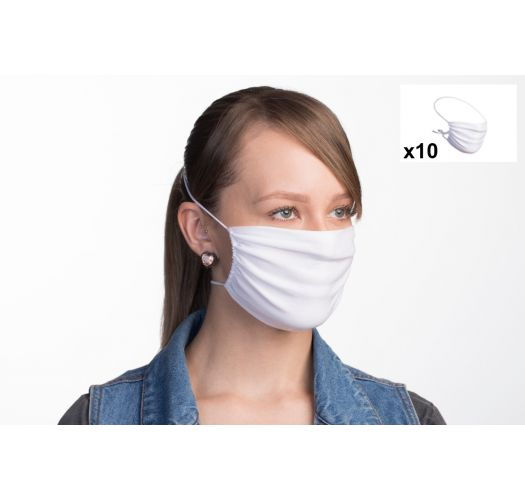 Set of 10 white reusable barrier masks - 10 x FACE MASK BBS01 2 LAYERS
