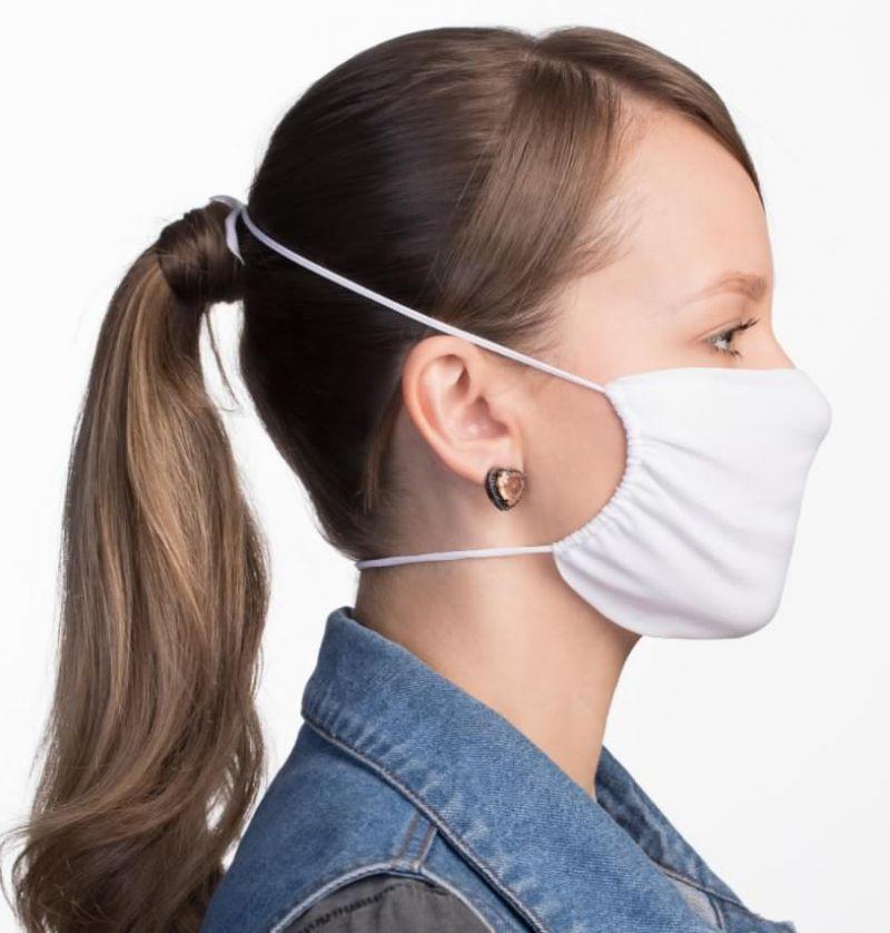 Приспособляемая и многоразовая маска из белой ткани - FACE MASK BBS01