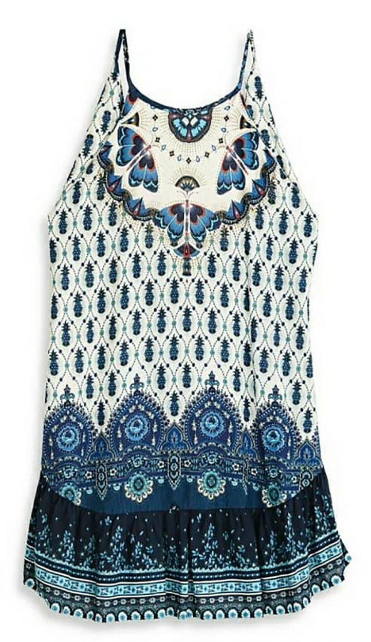 Printed blue mini dress with open back - VESTIDO CURTO DELICADEZA DE VERÃO - AZUL