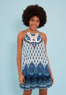 Printed blue mini dress with open back - VESTIDO CURTO DELICADEZA DE VERÃO - AZUL