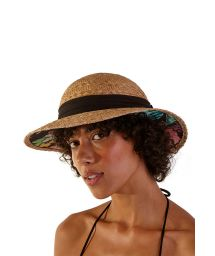Stylish straw hat and black knotted ribbon - CHAPEU ANA ABA LARGA (56)