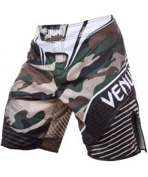 Khaki camouflage print combat shorts - CAMO HERO GREEN/BROWN
