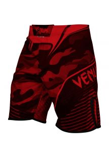 Kampshorts med rødt kamuflasjemønster - CAMO HERO RED/BLACK