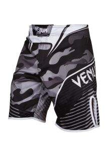 Gray/black camouflage print MMA shorts - CAMO HERO WHITE/BLACK