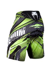 Black/green printed fight shorts with Venum logo - GALACTIC 2.0 CARBON BLACK