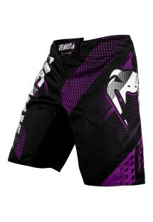 Black/purple Flex-System fabric fight shorts - RAPID FIGHTSHORT BLACK/PURPLE