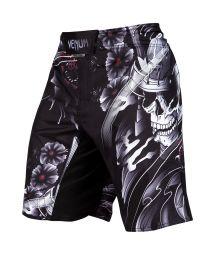 Black skull print combat shorts - SAMURAI SKULL FIGHTSHORT