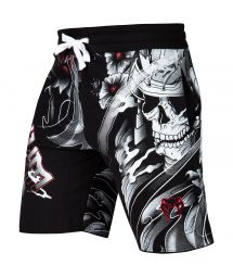 Cotton skull print sports shorts - SAMURAI SKULL TRAINING