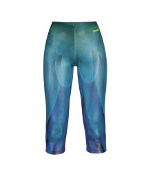 Blue fitness leggings in a satiny finish ASA AZUL CIRRE