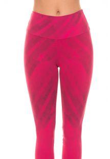 Roze fitnessleggings met geometrische patronen FRAMBOESA