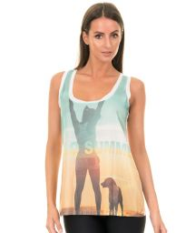 Tie and dye workout tank top in green and yellow HELLO SUMMER