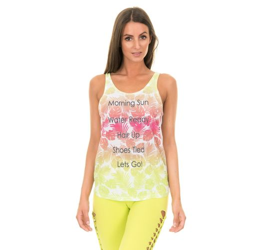 Floral-printed scoop-back exercise vest MORNING SUN