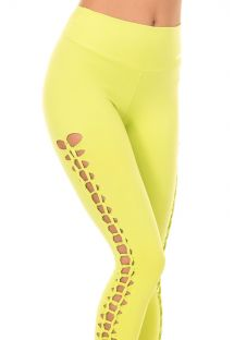 Lime green openwork workout leggings TRESSE PUNCH