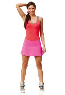 Short bi-colour short fitness dress, strappy back - DRESS FUN
