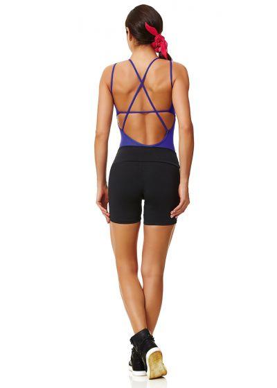 Bi-material, black sports shorts - SHORT NEW ZEALAND