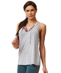 Pale grey fitness sleeveless T-shirt - TOP CHROME