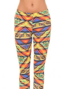 Sports leggings with multicoloured Mexican patterns - ALAMO MEZCAL