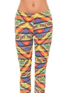 Sports leggings med flerfarget mexikansk mønster - ALAMO MEZCAL
