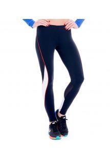 Sport-Leggings, kombiniert aus zwei Materialien, in schwarz und weiß - FUSEAU ANAHUACALLI