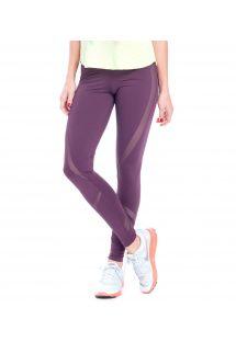 Legging fitness violet bi-matière, bandes ajourées - FUSEAU CADEREYTA