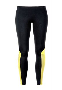 Black sports leggings with yellow panels - GUACAMOLE