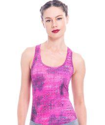 Pink mauve printed racer vest - KABAH