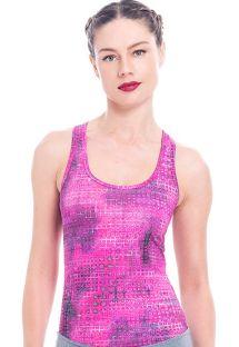 Bluză roz, model racer, cu imprimeu mov - KABAH