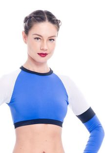 Blue and white long-sleeved crop top - KURIMANZUTO