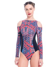 Long-sleeved printed fitness body with open shoulders - MAYO