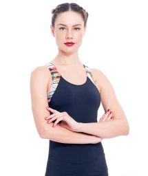 Black fitness tank top, multicolour racer back - TILACO
