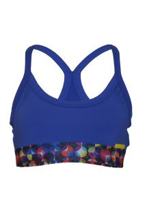 Reggiseno sportivo blu in due materiali, con fascia colorata - TOP GERZSO