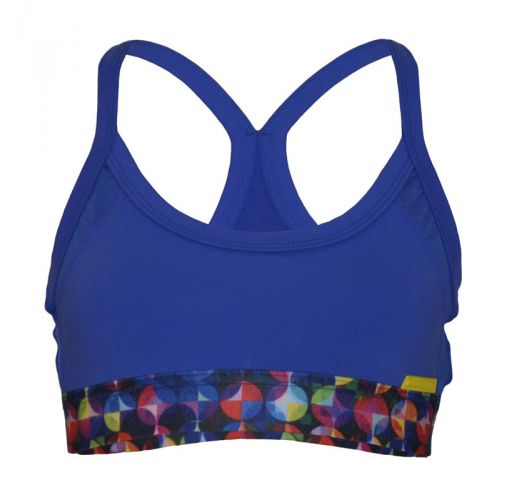 Blue two-material sports bra with coloured band - TOP GERZSO