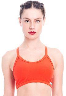 Tamno narančasti sportski grudnjak, grafičkog uzorka na leđima - TOP GIRONELLA