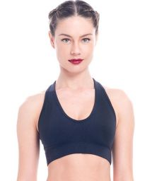 Black crop top with coloured insert at the back - TOP JALPAN