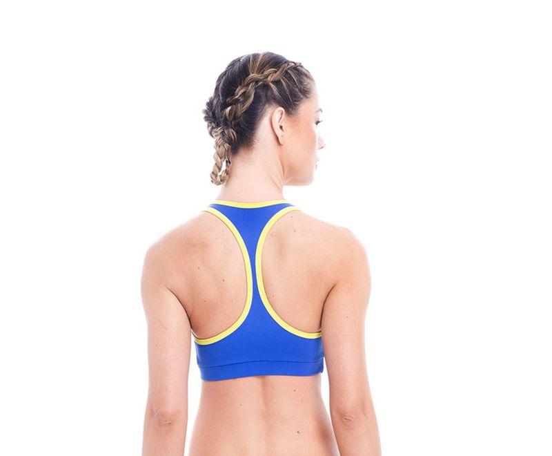 Blue and yellow racerback sports bra - TOP ORTEGA