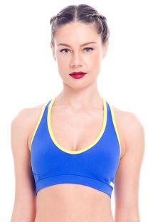 Brassière sport bleue et jaune, dos nageur - TOP ORTEGA