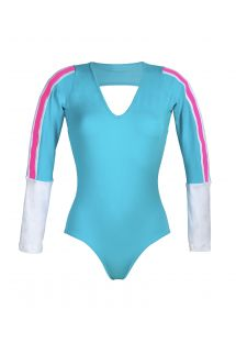 Sports leotard with long sleeves - YUCATAN BLUE
