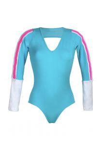 Blauer Fitness-Body mit langen Ärmeln - YUCATAN BLUE