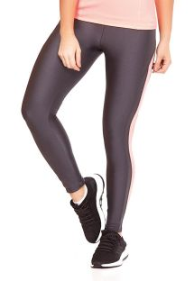 Legging largo deportivo color grafito con escrita rosa palido - BOTTOM ATHANTA RECORTES
