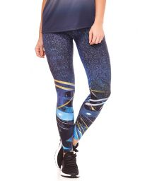 Long fitness leggings with blue graphic prints - BOTTOM BELIEVE IN YORSELF