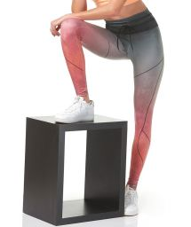 Grey and pink ombre print sport leggings - BOTTOM DEGRADE