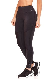 Black fitness leggings with stitching - BOTTOM EMANA BLEND