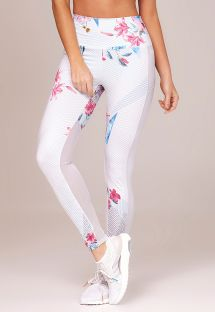 Long white fitness leggings with floral print - BOTTOM EMANA RECORTE
