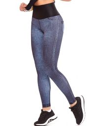 Reversible long fitness leggings (denim / print) - BOTTOM ENERGY DUPLA