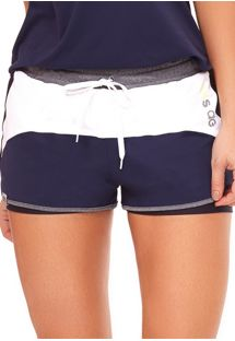 White & navy blue fitness shorts - BOTTOM INSPIRACOES