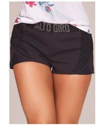 Bimaterial sporty black shorts - BOTTOM INSPIRE